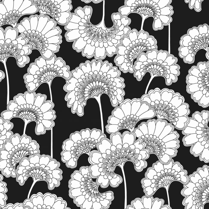 japanese floral wallpaper in black
