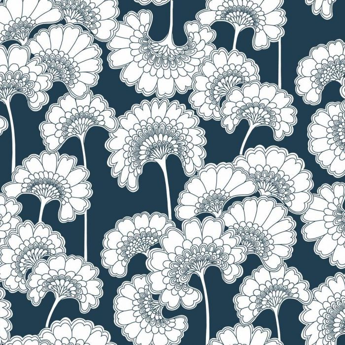 japanese floral wallpaper in indigo