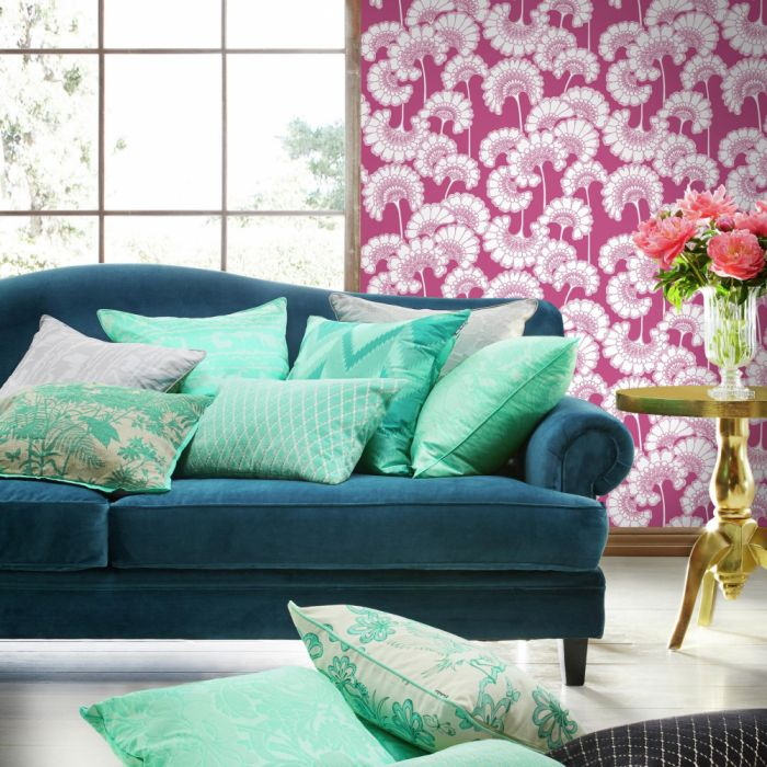 japanese floral wallpaper in raspberry in living room