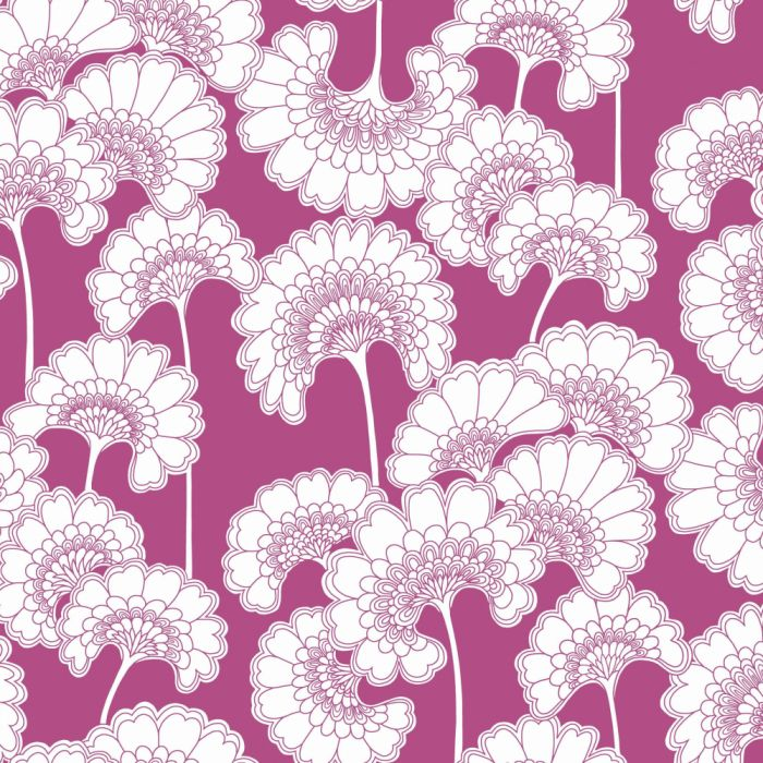 japanese floral wallpaper in raspberry