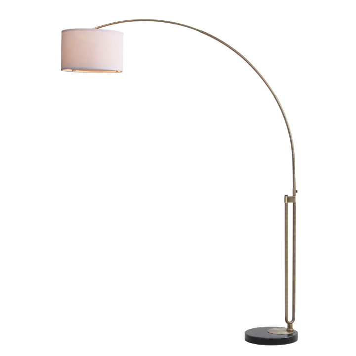 polaris arc floor lamp turned on