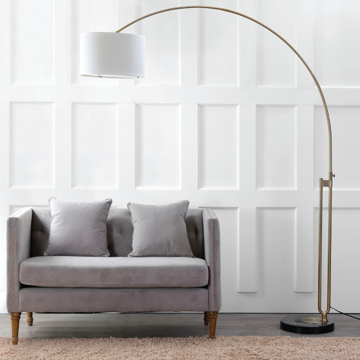 arc floor lamp in living space