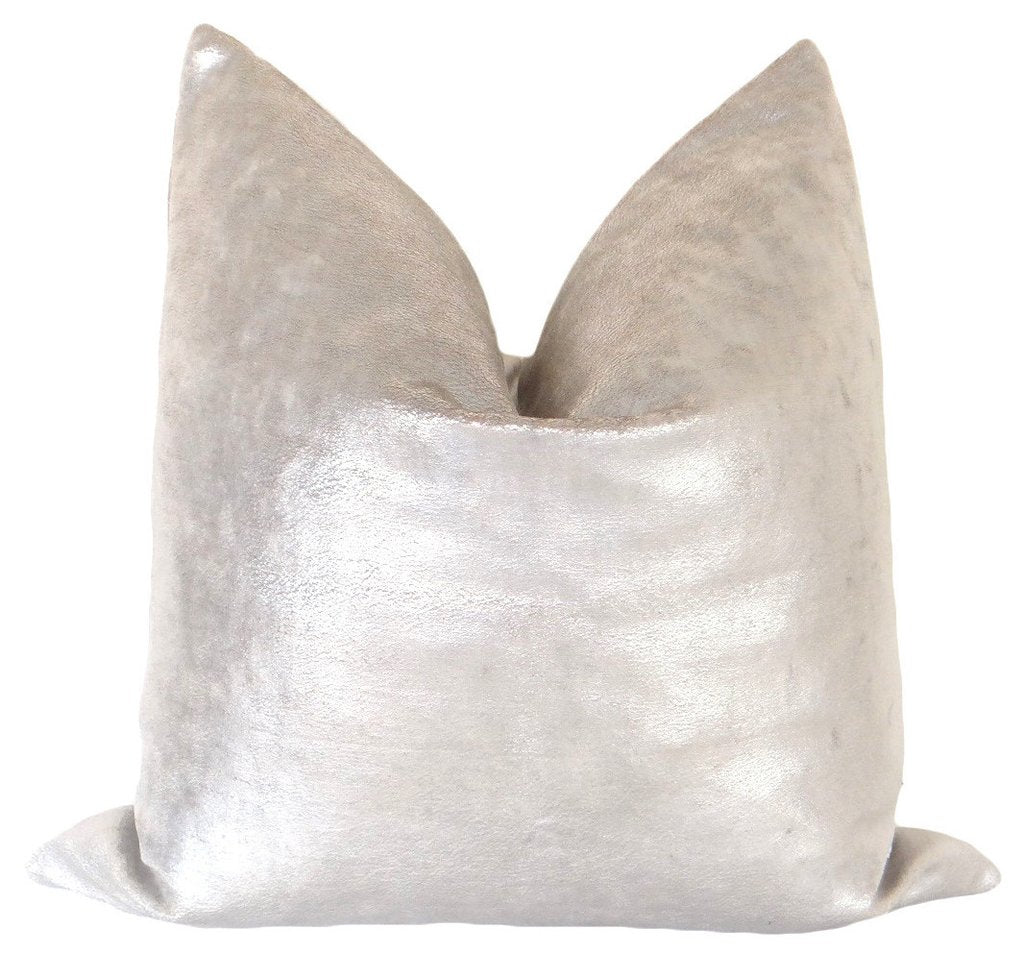SUEDED METALLIC VELVET PILLOW || SILVER