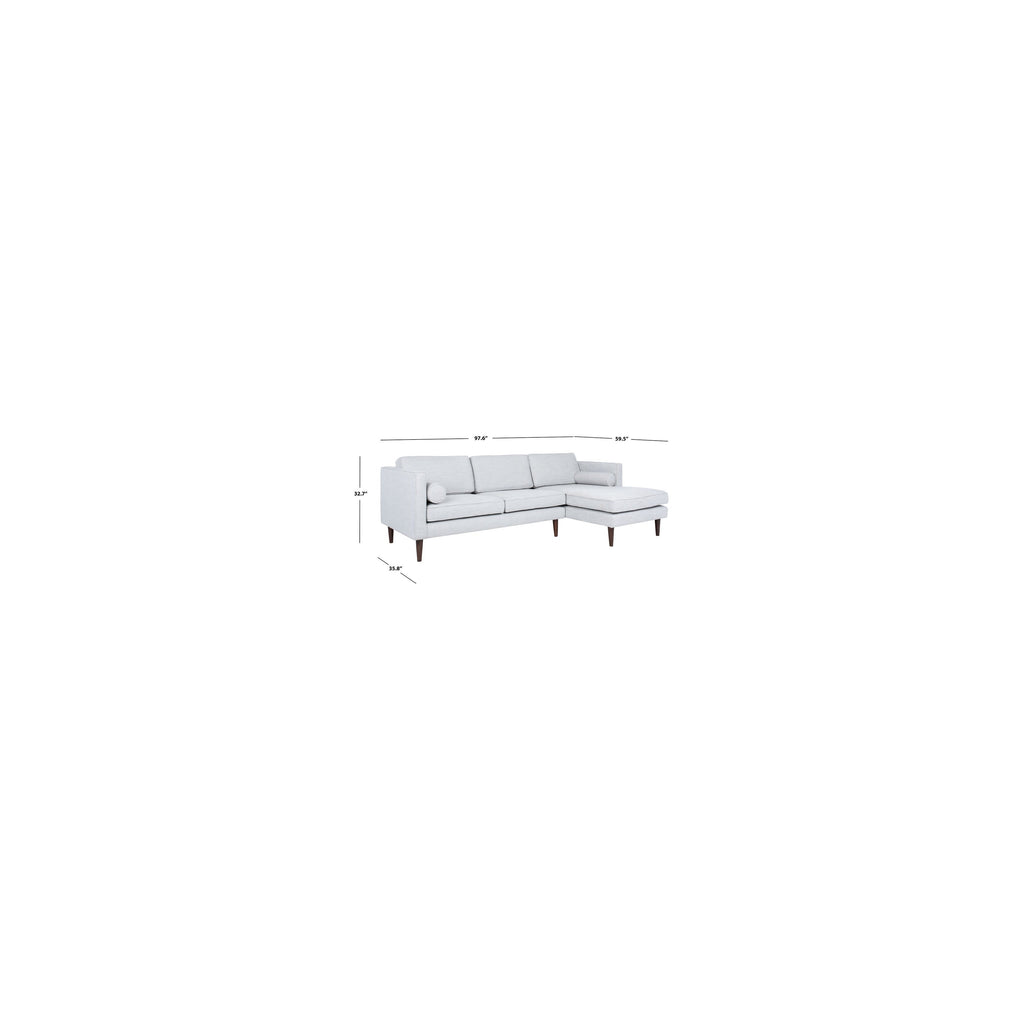 dimensions of light grey chaise sofa