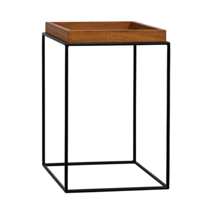 teak and metal side table