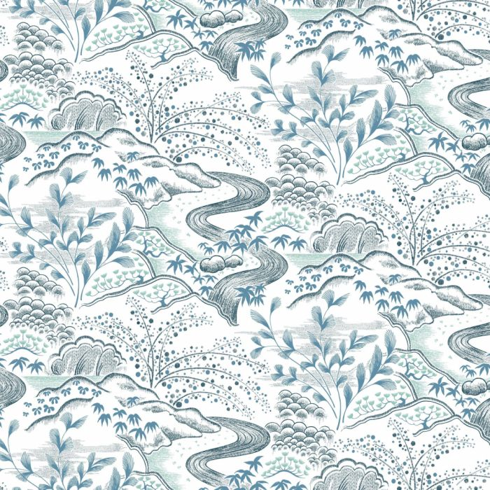 waterfall gardens wallpaper white/blue