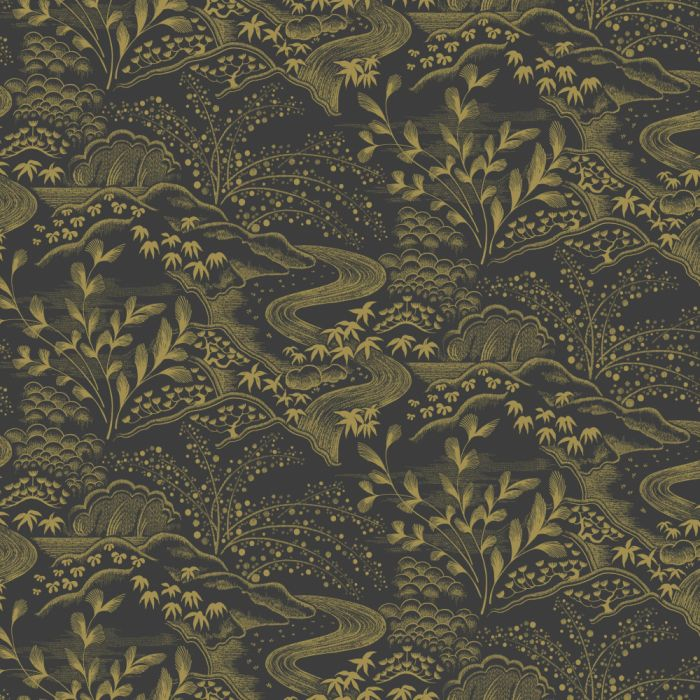 waterfall gardens wallpaper black/gold