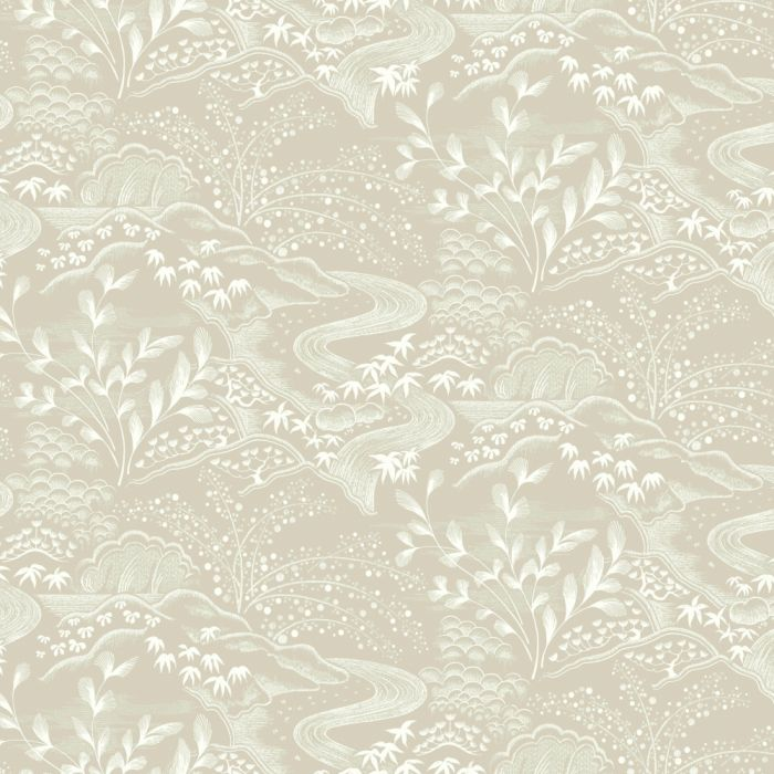 waterfall gardens wallpaper taupe/ white