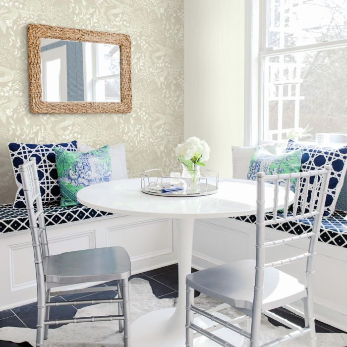 waterfall gardens wallpaper taupe/ white in dining area