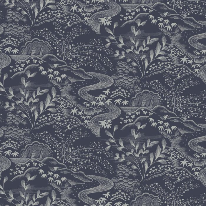 waterfall gardens wallpaper navy/ silver