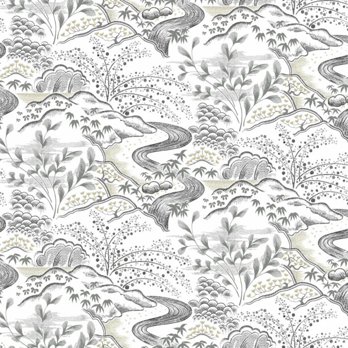 waterfall gardens wallpaper white/ charcoal