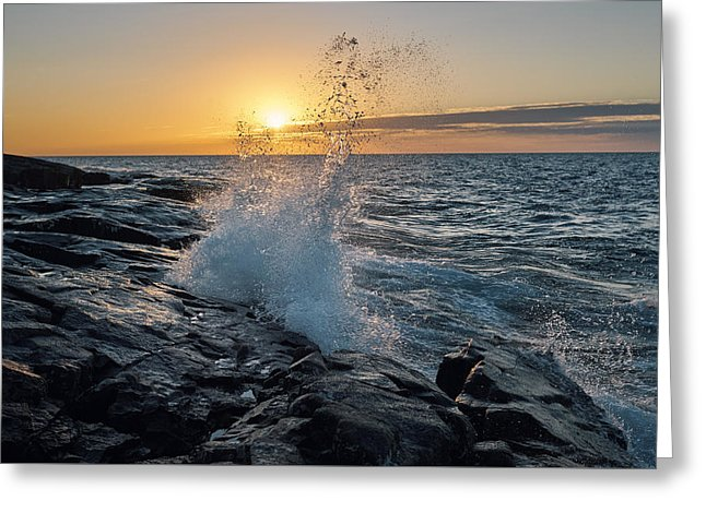 Big Wave After Sunrise - Greeting Card
