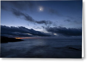 Blue Hour And Hazy Moon - Greeting Card