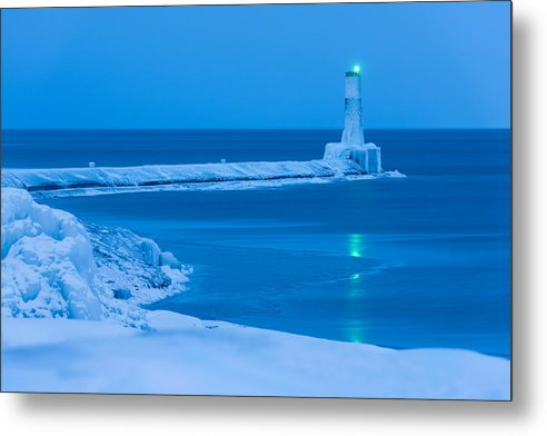 Blue Hour And The Light House - Metal Print