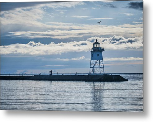 Couple, Seagull And Lighthouse - Metal Print