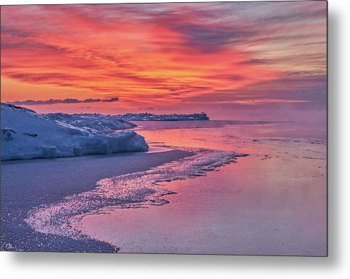 Fire And Ice At The Shore - Metal Print
