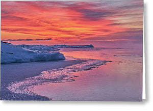 Fire And Ice At The Shore - Greeting Card