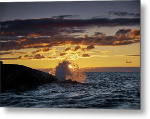 Sun Rising Behind Wave - Metal Print