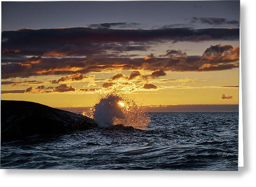 Sun Rising Behind Wave - Greeting Card