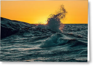 Waves During Sunrise - Greeting Card