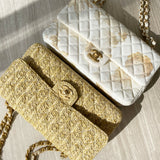 Raffia Woven Straw Medium Classic Double Flap Bag