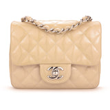 CHANEL Classic Mini Square Flap Bag in Beige Patent Leather - Dearluxe.com