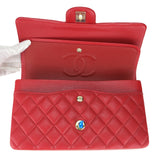 CHANEL Medium Classic Double Flap Bag in 19B Red Caviar - Dearluxe.com