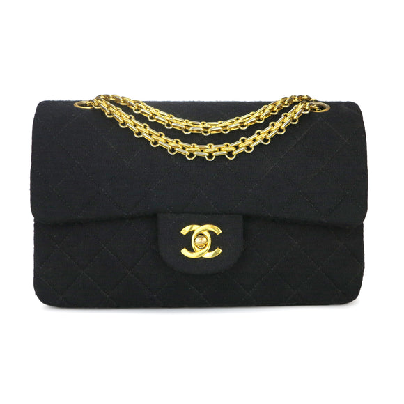 CHANEL Vintage Medium Classic Double Flap Bag in Black Jersey - Dearluxe.com