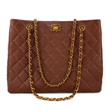 CHANEL Vintage Timeless Quilted Shoulder Tote Bag in Brown Caviar - Dearluxe.com