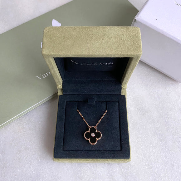 VAN CLEEF & ARPELS Vintage Alhambra 2016 Holiday Diamond Pendant Necklace in Onyx 18k Pink Gold - Dearluxe.com