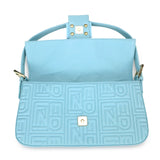 Logo-Embossed Nappa Baguette Bag in Tiffany Blue