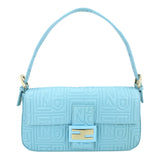 FENDI Logo-Embossed Nappa Baguette Bag in Tiffany Blue - Dearluxe.com
