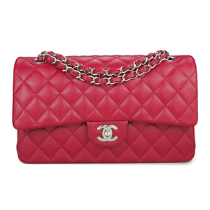 CHANEL Medium Classic Double Flap Bag in 18B Dark Pink Caviar - Dearluxe.com