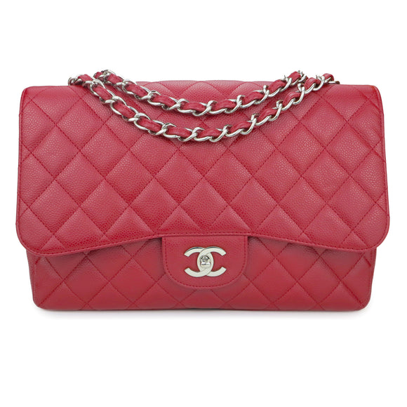 CHANEL Jumbo Classic Single Flap Bag in Red Caviar - Dearluxe.com