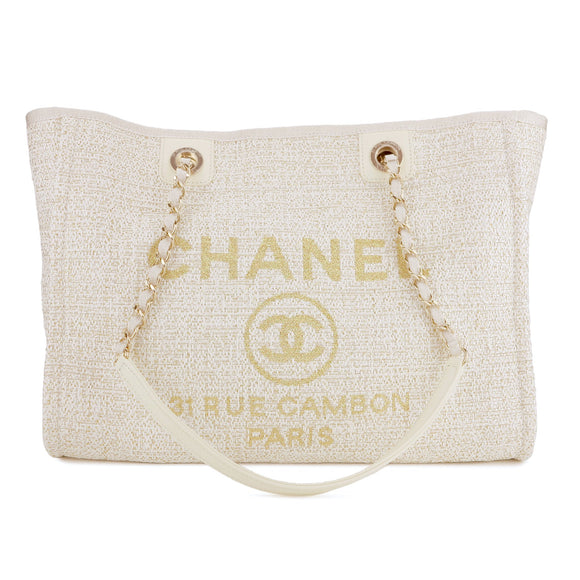 CHANEL Small Glitter Deauville Tote Bag in 19C Beige Canvas - Dearluxe.com