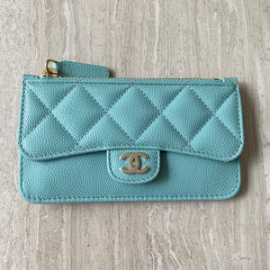 20C Tiffany Blue Caviar Zip Flap Card Holder with Multi Back Slots