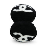 CHANEL Oversized CC Foldable Earmuffs in Black White Shearling - Dearluxe.com