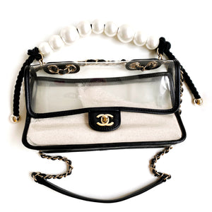 CHANEL Coco Sand PVC Medium Flap Bag with Pearl Handle | Dearluxe