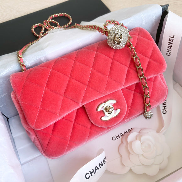 Pearl Crush Crystal Ball Mini Rectangular Flap Bag in Coral Velvet