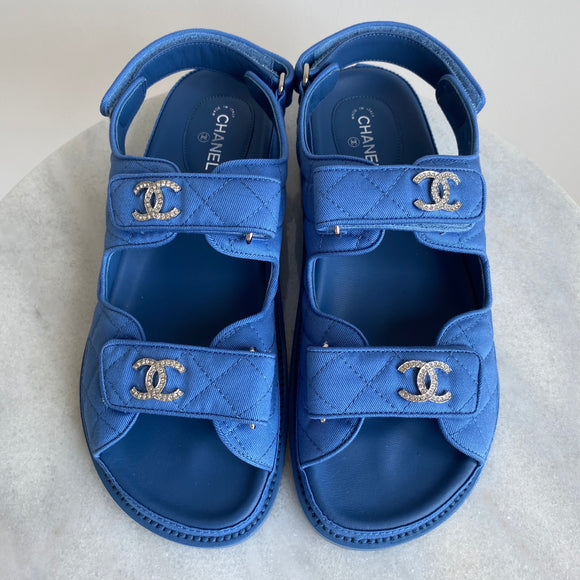 CHANEL Blue Fabric Crystal CC 'Dad' Velcro Sandals sz 38 - Dearluxe.com
