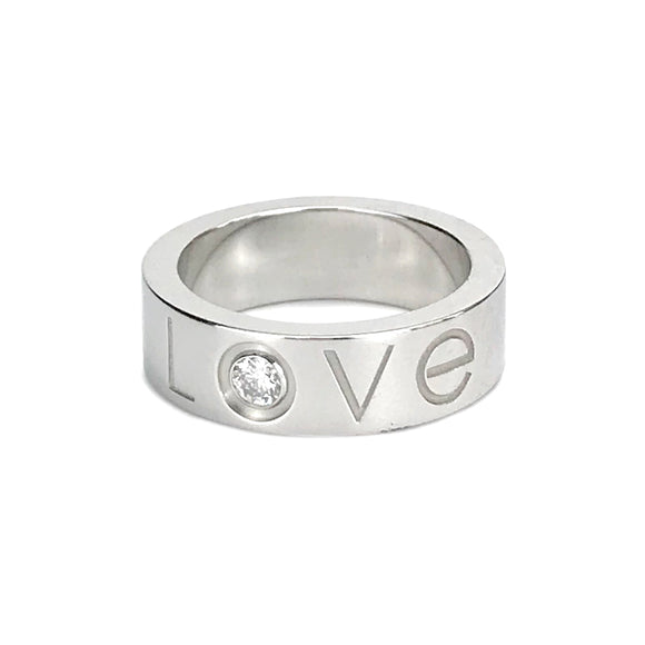 CARTIER Love Ring with Diamond in 18k White Gold - Dearluxe.com