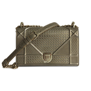 DIOR Small Diorama Bag in Gold Micro-Cannage Patent Leather - Dearluxe.com