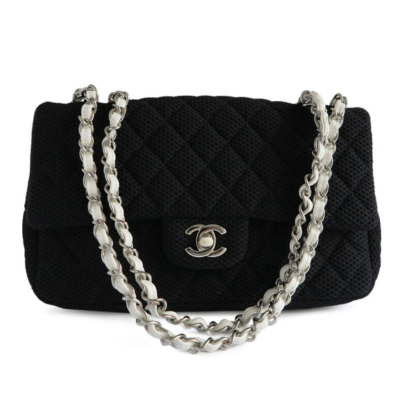CHANEL Medium Single Flap Bag in Black and White Perforated Jersey - Dearluxe.com