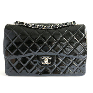 CHANEL Jumbo Classic Double Flap Bag in Black Patent Leather - Dearluxe.com