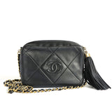 CHANEL Vintage Quilted Logo Camera Bag in Black Lambskin - Dearluxe.com