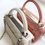 Small Trendy CC Flap Bag with Top Handle in Ivory Lambskin