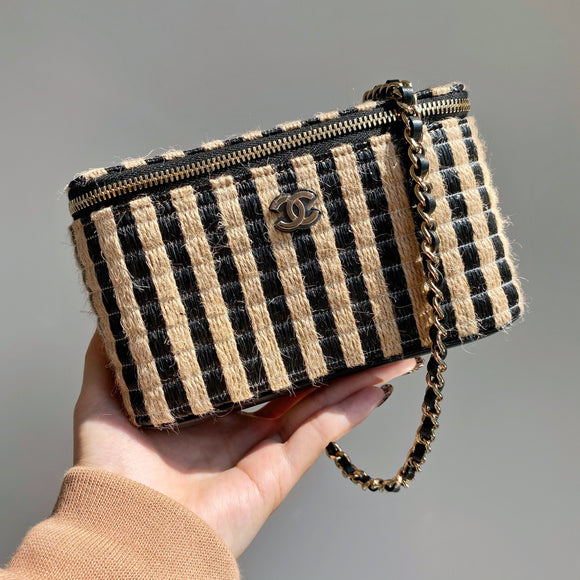 CHANEL Small Vanity Case with Chain 21P Raffia Black Beige Stripe - Dearluxe.com