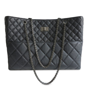 CHANEL Large 2.55 Reissue Shopping Tote in Charcoal Grey Aged Calfskin - Dearluxe.com
