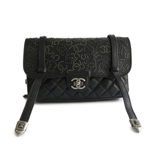 CHANEL Dallas Runway Studded Messenger Satchel in Black Calfskin - Dearluxe.com