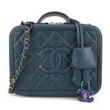 CHANEL Medium CC Filigree Vanity Case in Dark Turquoise Caviar - Dearluxe.com